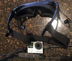 """HD 100 """" Video Brille 1080p Hochwertig HDMI Eingang Für GOPRO Hero3+ Hero4"""