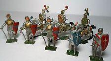 (8) Prewar Heyde Medieval Knights w/ Swords & Knights On Horse Back
