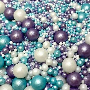 ICE MIX VARIOUS SIZES FROZEN 2 PEARLS SPRINKLES SUGAR BALLS CUPCAKE DECORATIONS