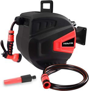 Retractable Water Hose-Reel Garden Sprayer Wall Mount 66FT 9 Adjustable Nozzle