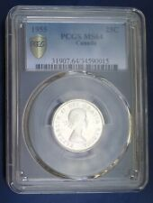 CANADA 25 CENTS 1955 ELIZABETH II SILVER COIN PCGS MS64