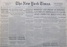 4-1938 WWII April 30 ROOSEVELT ASKS INQUIRY ON MONOPOLY; SAYS PRIVATE POWER LEAD