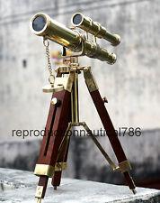 Nautical Brass Double Barrel Pirate Spyglass Telescope With Tripod Vintage Decor