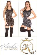 Sexy KouCla Leo Feinstrick Party Minikleid Longpulli Abendkleid Einheitsgröße