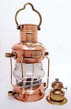 "Brass & Copper Anchor Leeds Burton Oil Lamp  Nautical Maritime 14"" Ship Lantern"