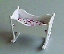 White Rocking Cradle / Cot (1) Dolls House Miniature Nursery Furniture
