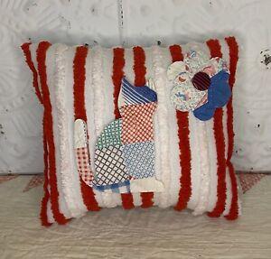NEW Handmade Cat Pillow  Vintage Chenille Bedspread  Quilt Appliqué  Patriotic