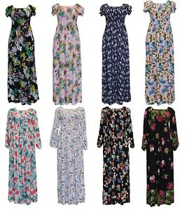 New Ladies Long Cotton Maxi Dress Short Sleeve Women for Beach Holiday Party