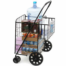 Size Basket with Wheels for Laundry Grocery Trave Folding Shopping Cart Jumbo