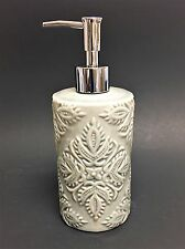 NEW GRAY+OLIVE GREEN 3D FLORAL TEXTURED CERAMIC BATHROOM SOAP+LOTION DISPENSER
