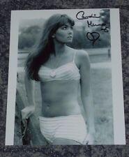 CAROLINE MUNRO-  BOND GIRL  -  10x8  PHOTO SIGNED - .STRIPED BIKINI