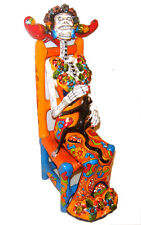 "Mexican Talavera Handmade Frida Sitting on Chair Collectible 16"" Long"