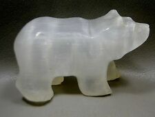 Bear Gemstone Animal Carving White Selenite Glow Mineral Healing Stone #2