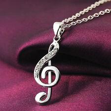 EG_ HK- Women's Elegant Silver Plated Rhinestone Musical Note Pendant Necklace F