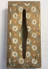 "Vintage Italian Wood Tissue Box 11""x5.5""x2.5""  Gold White Blue Pink"