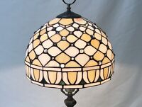 """Vtg Stained Slag Glass Lamp Shade Arts & Crafts Mission Deco Tiffany Style 11.5"""""""