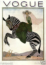 Vintage Vogue Poster/ Lady on a Zebra 1926  / 5x7 inch