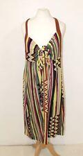 MISSONI Ladies Colourful Striped Halterneck Open Back Loose Fit Sundress UK16