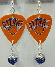 NBA New York Knicks Guitar Pick Earrings with Blue Ombre Pave Bead Dangles
