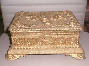Antike Schmuckschatulle Schatulle Schmuckkasten Gold Holzblumen 26,5 x 20 cm