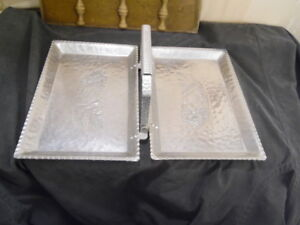 1920's 30s Keystone Ware Fold Up Hammered Aluminum Floral Serving Tray w/Handle