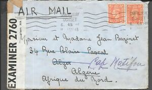 TANGIER / GB 1943 CENSORED TRANSIT MAIL TO ALGERIA RECEIVED 30.1.1943