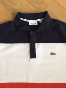 Lacoste Mens Polo Shirt .. Size 6 UK XL .. Red White Blue