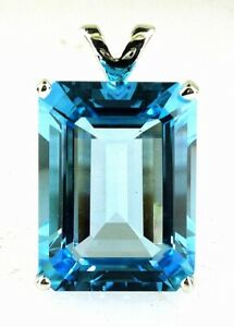 Stunning Very Large Emerald Cut Blue Topaz Pendant 925 Sterling Silver 26.08 CTS