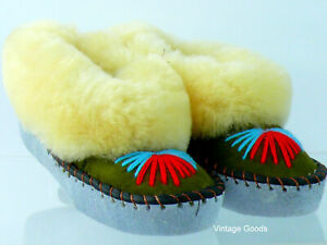 UNISEX SHEEPSKIN SLIPPERS HAND-MADE HAND-EMBROIDERED LEATHER MADE UK 10; 11;13
