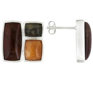 Artisan Of Madagascar Peach And Black Moonstone Petrified Wood Earrings Jtv