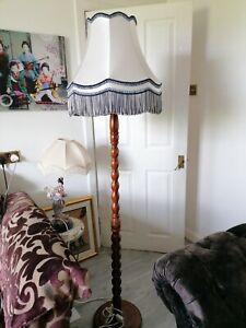 French antique oak half barley twist standard floor lamp with Tassel Silk shade
