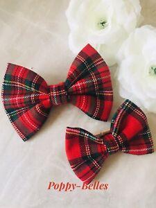 "Handmade red Royal Stewart tartan 3"" or 4"" baby/girls hair bow"