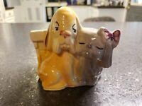 VTG. Shawnee Pottery Hound & Pekeingese Shih-Tzu Dog Planter #611 Vase 1950's