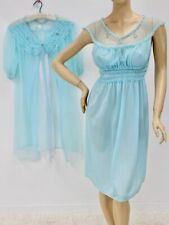 New listing vintage Chic Lingerie Nightgown Peignoir set Nylon chiffon Nightie Blue Medium