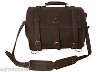"NEW REAL PREMIUM LEATHER TRAVEL BRIEFCASE SATCHEL BAG 16"" CRAZY HORSE VINTAGE"