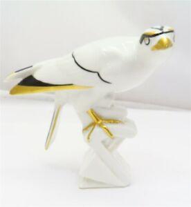 Vintage c.1930s Heubach Art Deco Eagle Gold Gilt Porcelain Bird Figurine