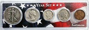 1936 Coin Year Set in Custom Case Half Dollar Quarter Dime Nickel Penny