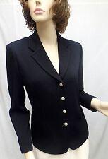 St John Knit EVENING Black Princess Lapel Collar Crystal Button Jacket SZ 6