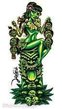 Girl With Shrunken Heads On Green Tiki Sticker Decal Artist Big Toe BT35