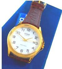 Casio Classic mtp-1188q-7b marrón de cuero oro blanco fecha reloj de pulsera reloj + nuevo +