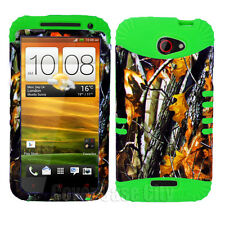 For HTC One X S720e Hybrid Green Silicone Skin Case + Hunter Branch Camo Cover