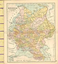 MAPPA c1880 ~ La Russia in Europa ~ Polonia Kazan ASTRAKAN Caucasia Finlandia Baltico