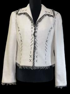 Emil Rutenberg 100% Silk Tweed Blazer Lined Jacket Size Medium Cropped Ivory