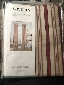 Waverly garden room beige deep red stripped tab top curtain panel 41x84 NEW