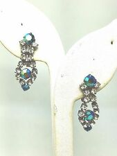 Stunning Drop Rhinestone Earrings blue green Vintage Clip on Aurora Borealis