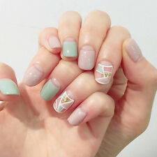 24Pcs Nude Color With Design Short False Nails With Stickers Nail Tip Full Cover