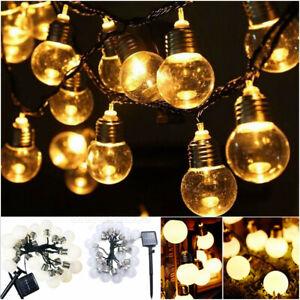 G45 LED Solar Powered Retro Bulb String Lights Garden Outdoor Fairy Party Lamp