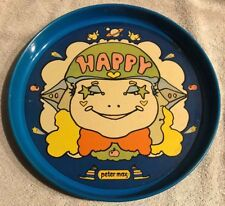 Peter Max Vintage 1960'S 'Happy' Mod/Psychedelic Round Tin Serving Tray