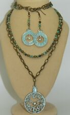 Natural Turquoise Beaded Necklace Set Hand-Patina'd Steampunk style Watch face &