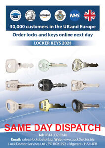 Replacement Locker Keys - SAME DAY DISPATCH and **FREE 48HR TRACKED DELIVERY**
